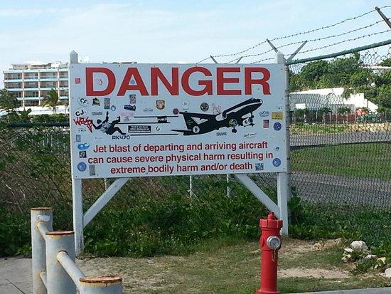 Sunset Beach Bar: Warning Sign
