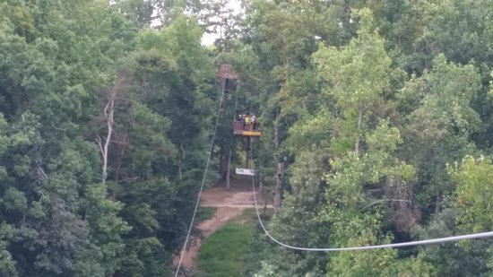 Kersey Valley Zip Line: View from one tower to the next tower