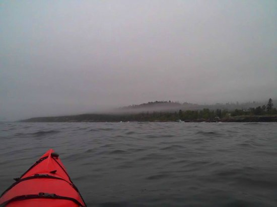 North Shore Expeditions -Day Kayaking Tours: Fog in the hills - kayaking down the shore in Grand Marais