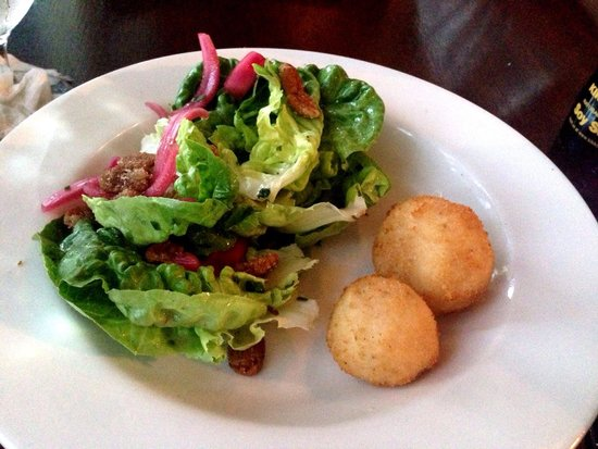 "Saltus River Grill: Delicious salad (despite the somewhat unattractive goat cheese ""balls"")"
