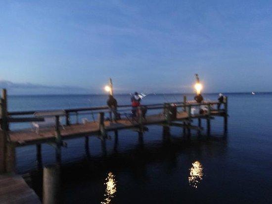 Camp Merryelande: Early morning fishing on the pier