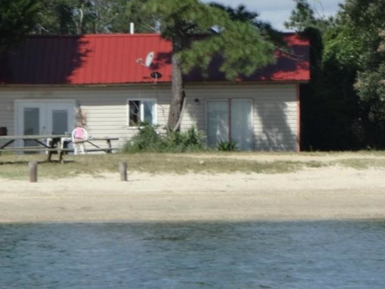 Camp Merryelande: View of Cottage 1 from the beach