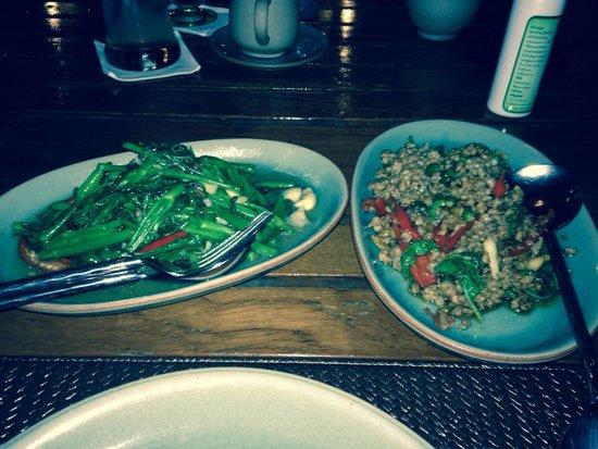 Baan Khanitha: Morning glory and pork with Thai basil and chillis