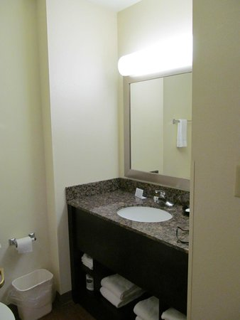MainStay Suites : Plenty of counter space in the bathroom.  Good lighting