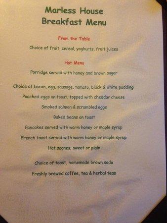 Marless House Bed & Breakfast: breakfast menu