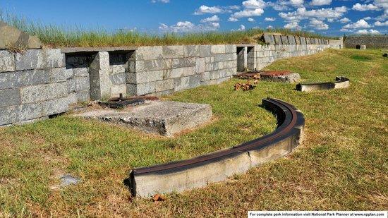 Fort Monroe National Monument: Mounts for former guns at Battery Gatewood