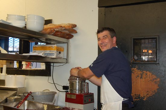 Bleu: Chef-Owner Frederic Feufeu making tapenade