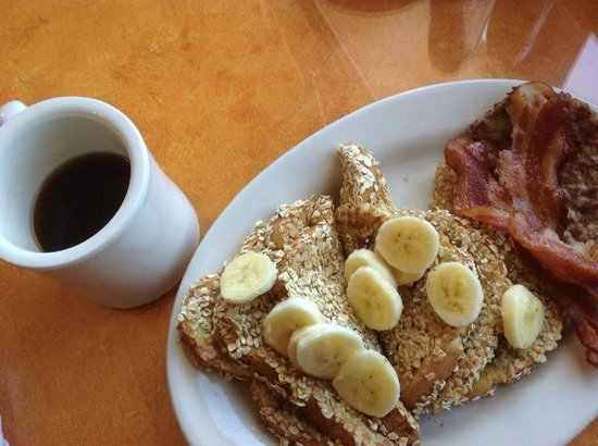 Bright Morning Inn: Potato bread banana french toast, with oats.