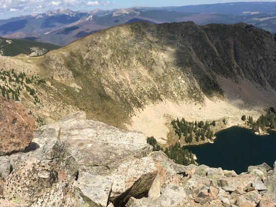 Pecos Wilderness Area: View from Santa Fe Baldy looking north-Lake Katherine below.