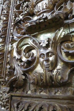 La Merced Church (Iglesia de la Merced): Gold covered face of an Inca
