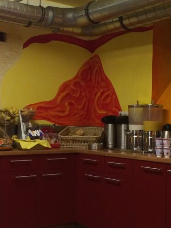 "Alex 30 Hostel: The ""interesting"" artwork in the kitchen. Very appetizing when eating, looking at an open sore."