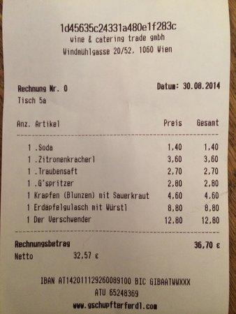 """Heurigenbuffet Zum Gschupftn Ferdl: Bringt's auf den Punkt: Brettljause """"Verschender"""" um 12,80€ - schad um's Geld..."""