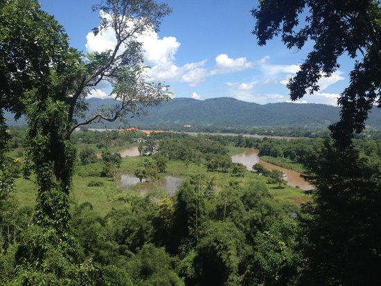Anantara Golden Triangle Elephant Camp & Resort: View from the balcony. On the left is Myanmar and the mountains across is Laos.