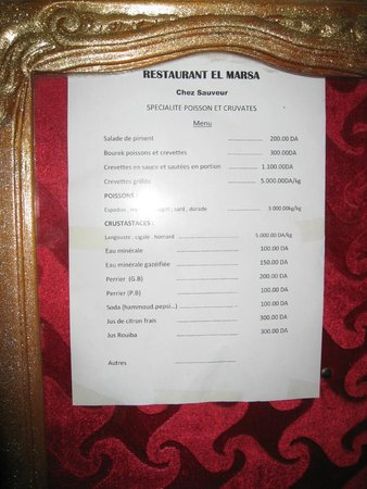 Restaurant Chez Sauveur: Prix affichés à l'entrée