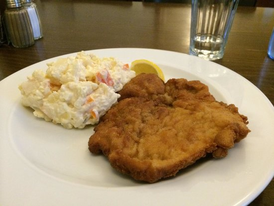 Ambiente Lokal: Pork schnitzel with potato salad. Yum!