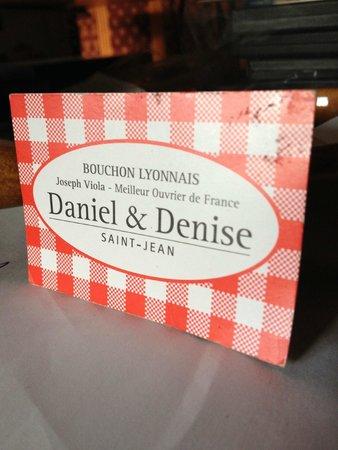 Daniel et Denise - Crequi: la carte du resto
