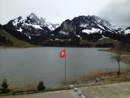 Hostellerie am Schwarzsee: View of the lake early spring 2014.
