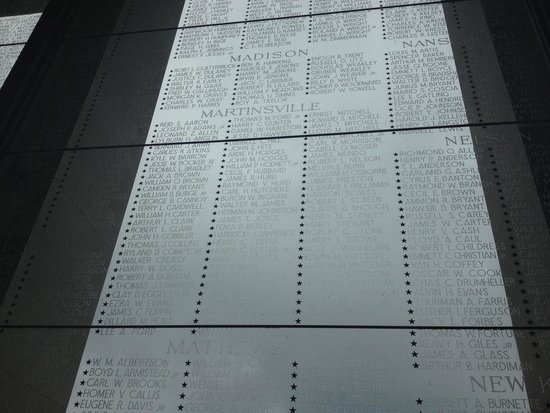 Virginia War Memorial : Names of the individuals from my hometown that died in WWII