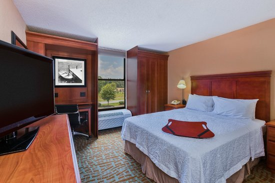 Hampton Inn Hendersonville: A One Queen Bed room features a cozy place for a single traveler or a couple to relax.