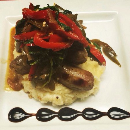 The Hollow Bistro & Brew: Special- Grilled Italian sausage with spicy rapini, garlic mashed potatoes and bell peppers