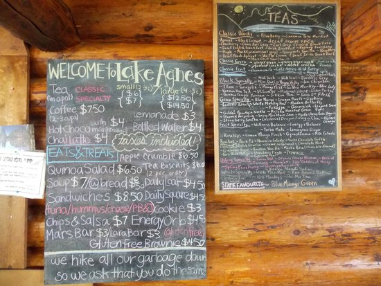 ‪‪Lake Agnes Tea House‬: The menu‬