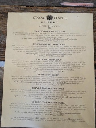 Stone Tower Winery: over priced menu