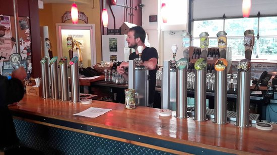 Whistler Brewing Company: Our guide and the bar.