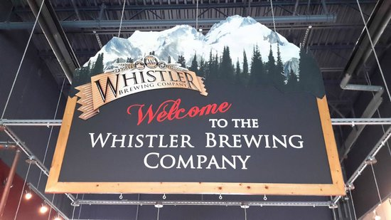 Whistler Brewing Company: The company logo above the bar.
