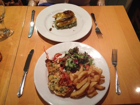 The Beach Restaurant: lobster and monkfish