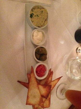 Back Street Bistro: homemade tortillas with homemade dips and olives (starter)