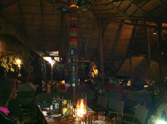 The Boma - Dinner & Drum Show : A view of the central pavilion from one of the peripheral tables