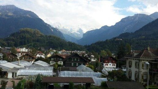 Hotel Beausite : View from our room - town with Eiger and Jungfrau in background