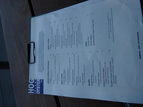 Hog Island Oyster Company: menu
