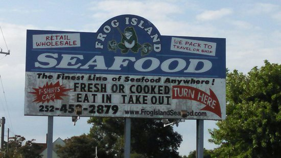 Frog Island Seafood: Look for the sign at intersection with US Rt. 158