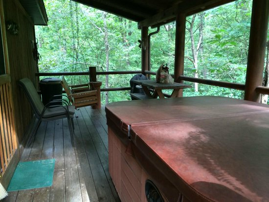 Old Man's Haven: Secluded and very private deck with hot tub  Cabin 4