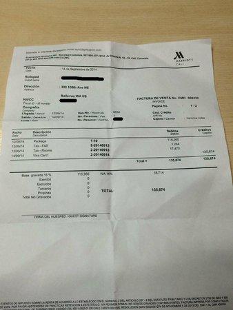 Cali Marriott Hotel: pago adicional