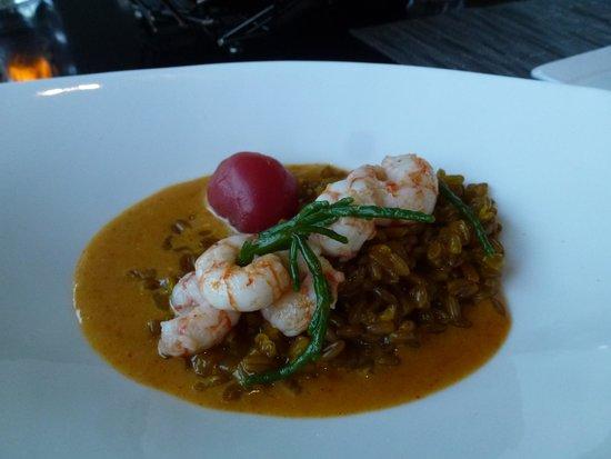 AURA waterfront restaurant + patio: Butter poached side stripe shrimp
