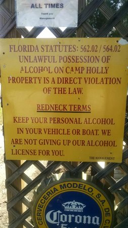 Camp Holly Fishing & Airboats: funny sign out front