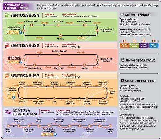 Sofitel Singapore Sentosa Resort & Spa: Расписание и схема движения автобусов на Сентозе. У отеля останавливается третий автобус. На ста