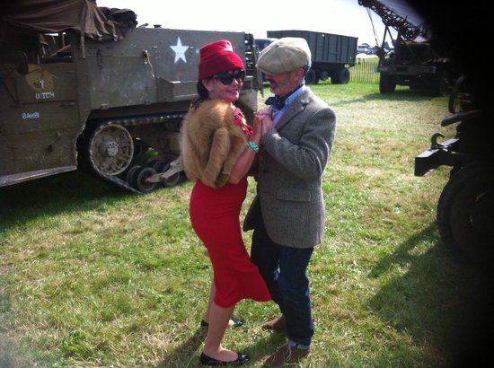 Goodwood House: having a boogie woogie by the US Army 1940s trucks