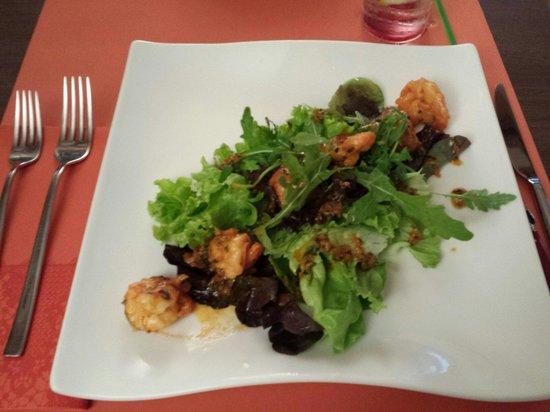 Histoire de Gout: Entrée : salade aux crevettes
