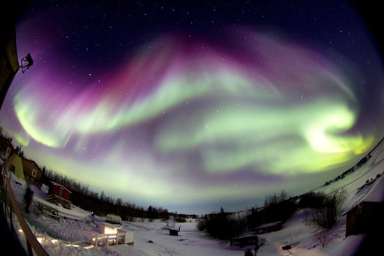 Aurora Village: Northern Lights under the super-wide-angle lence, Yellowknife, Canada