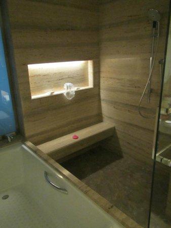 جيه دابليو ماريوت هوتل نيو دلهي إيروستي: The marble shower and the tub