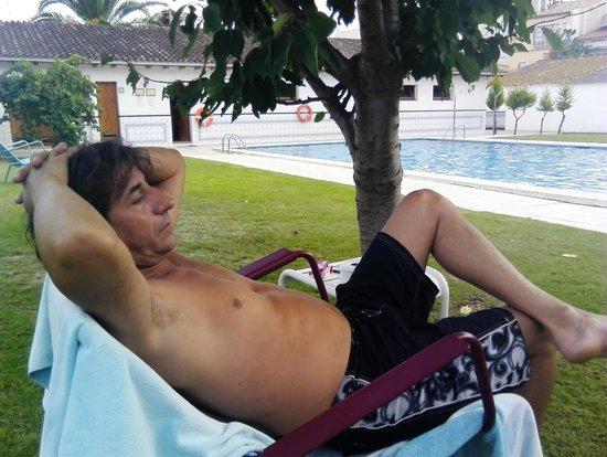 Hotel Antiga: Una gran piscina rodeada de arbolitos