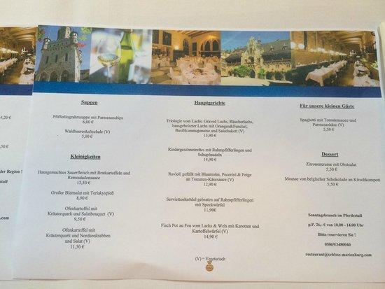 Schloss Restaurant Marienburg: Blick in die Speisen-Karte