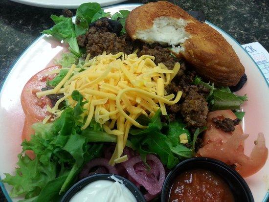 Little Fat Gretchen's: taco salad with a warm spicy bun