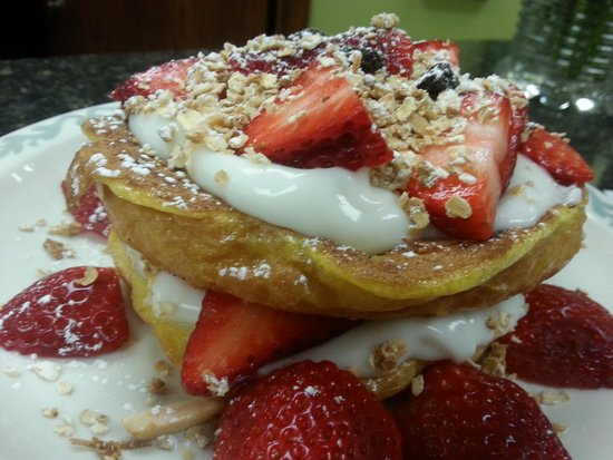 Little Fat Gretchen's: croissant French toast stuffed with yogurt berries and homemade granola