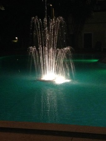 ‪‪Legends Apartments‬: Fountain in the pool at night‬