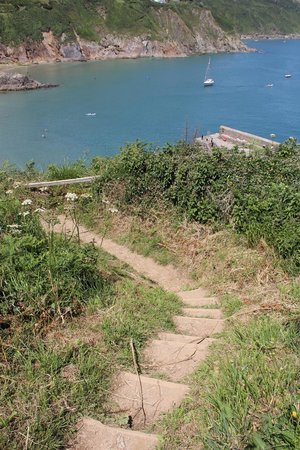 Coast Path Cafe: View of the quay from cliff path at Gorran Haven, Cornwall