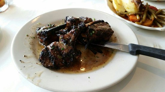 Greek Islands Taverna: Lamb chops.  Hubby says better than a filet.  I agreed.